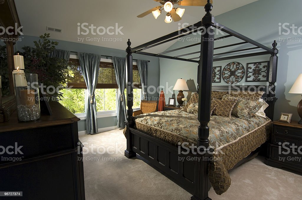 Beautiful exotic decoration master bedroom royalty-free stock photo