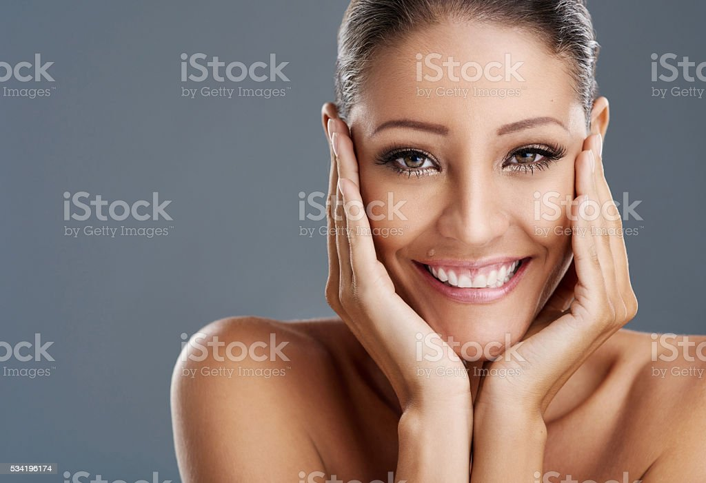 Beautiful eyes, beautiful smile, beautiful you stock photo