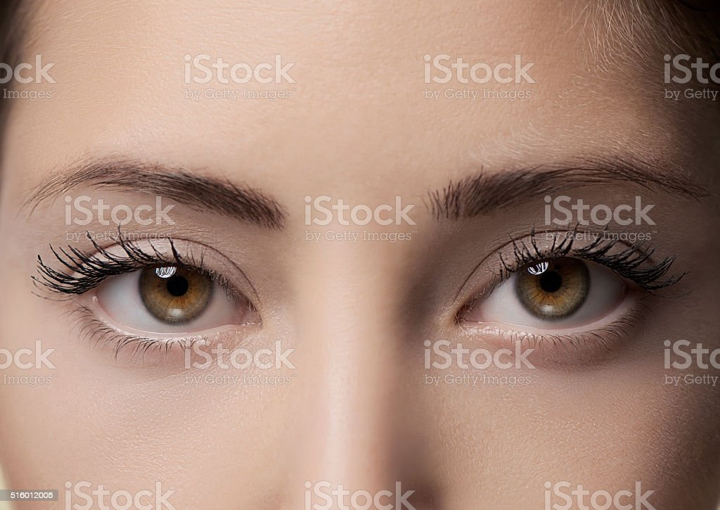 Beautiful eyes, close up stock photo