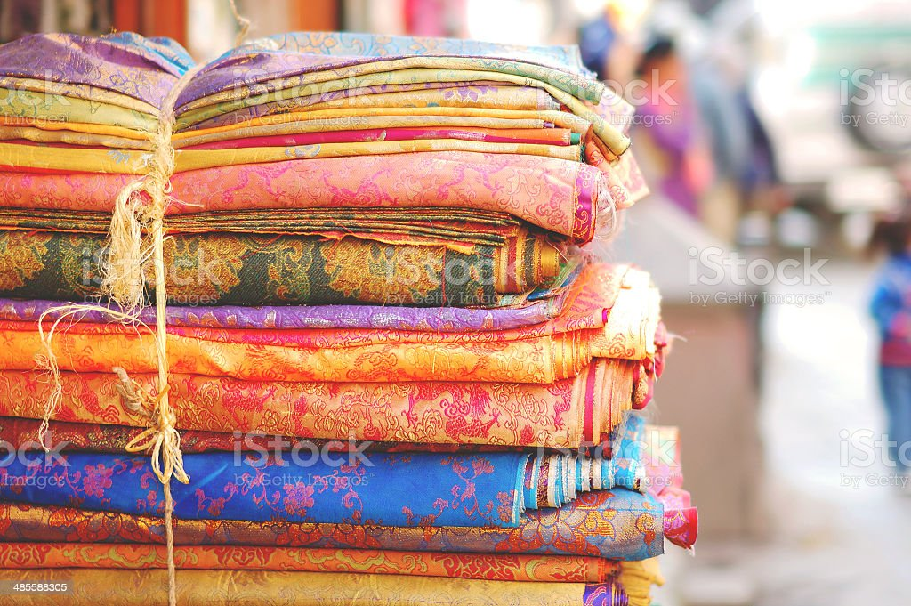 Beautiful fabric from Nepal stock photo