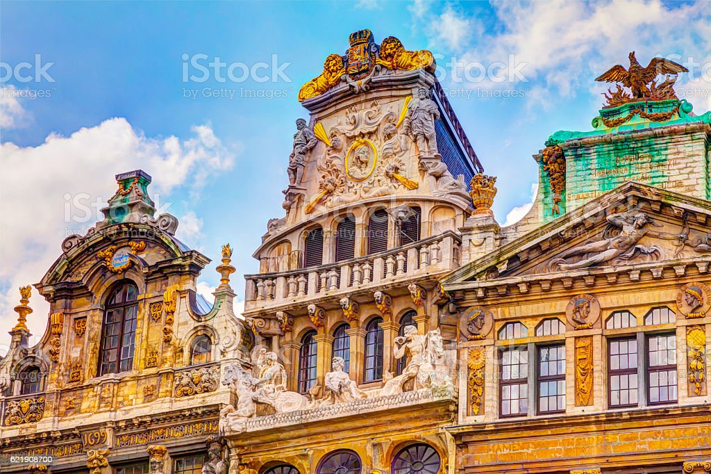 beautiful facade Grand Place Brussels Belgium stock photo