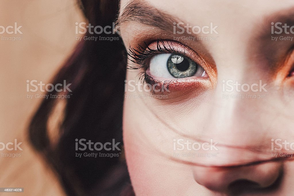 Beautiful face and eye close up stock photo