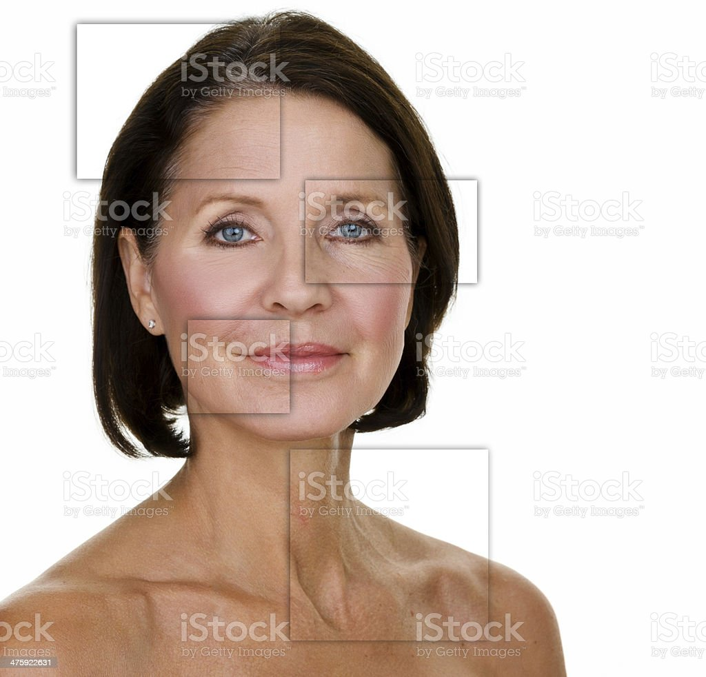 Beautiful face of a mature woman stock photo