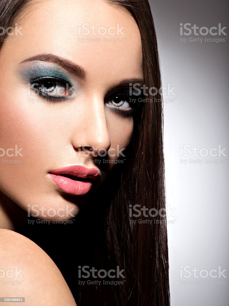 Beautiful face of a  pretty girl with long straight hairs stock photo