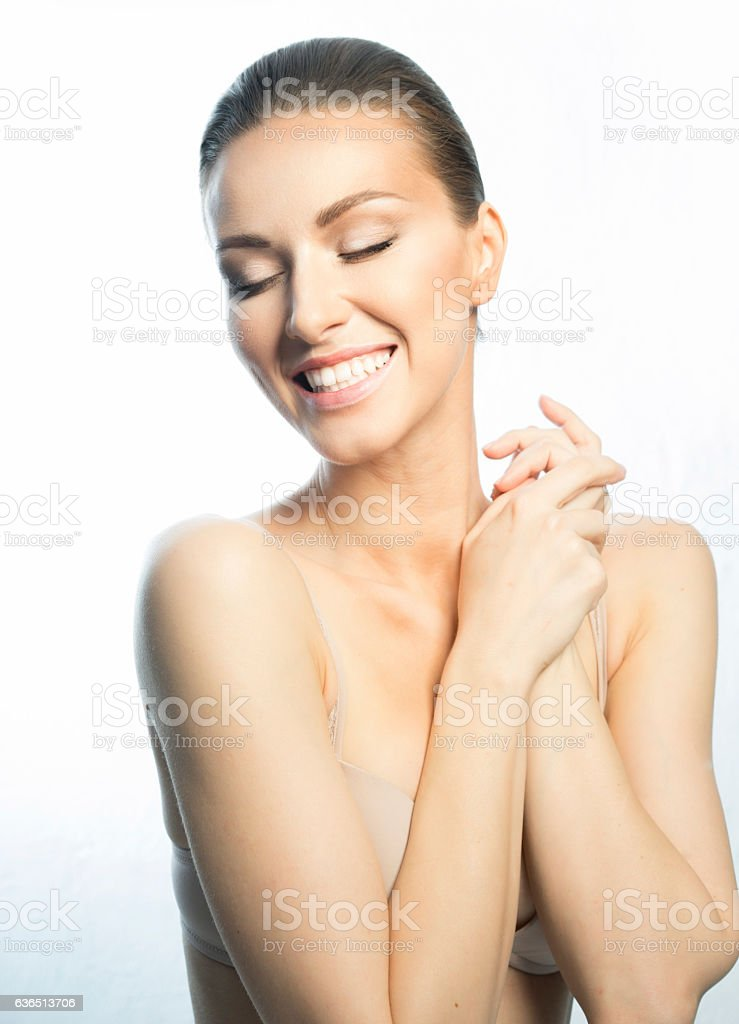 Beautiful face of European appearance stock photo