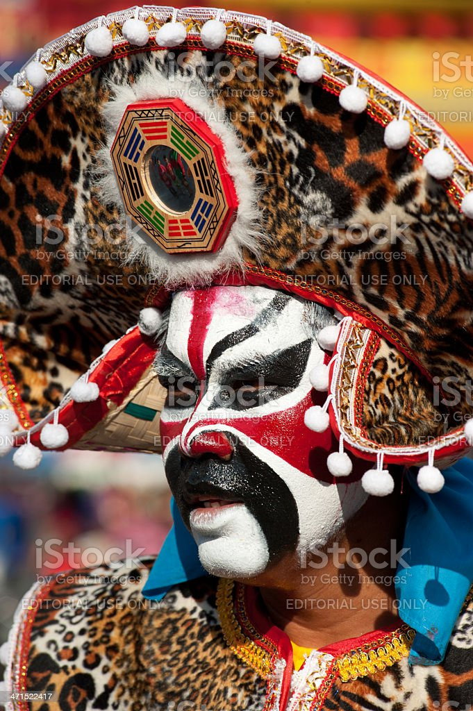 Beautiful face of warrior in parades. royalty-free stock photo