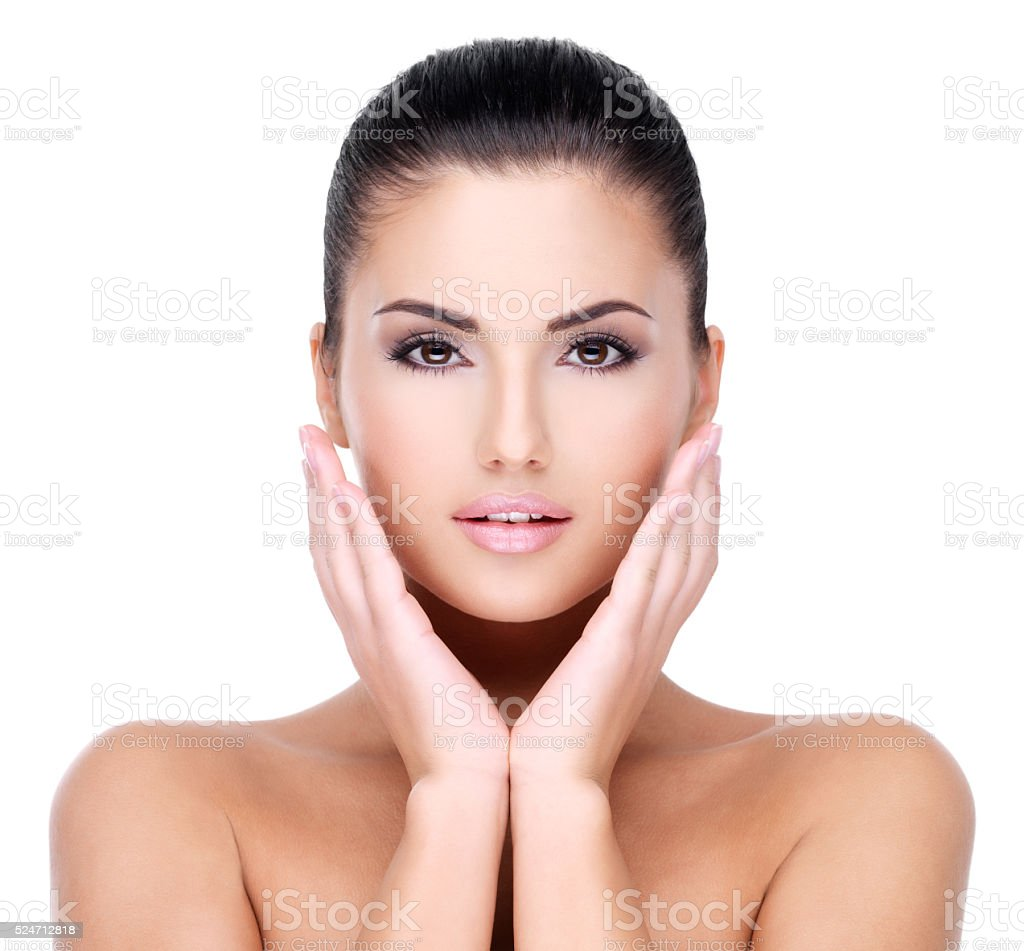 Beautiful face of young girl  with  fresh healthy skin stock photo