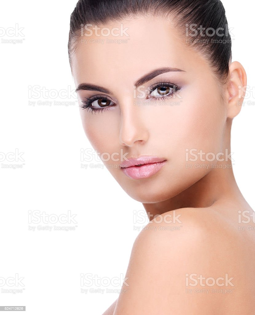 Beautiful face of young woman with clean skin stock photo
