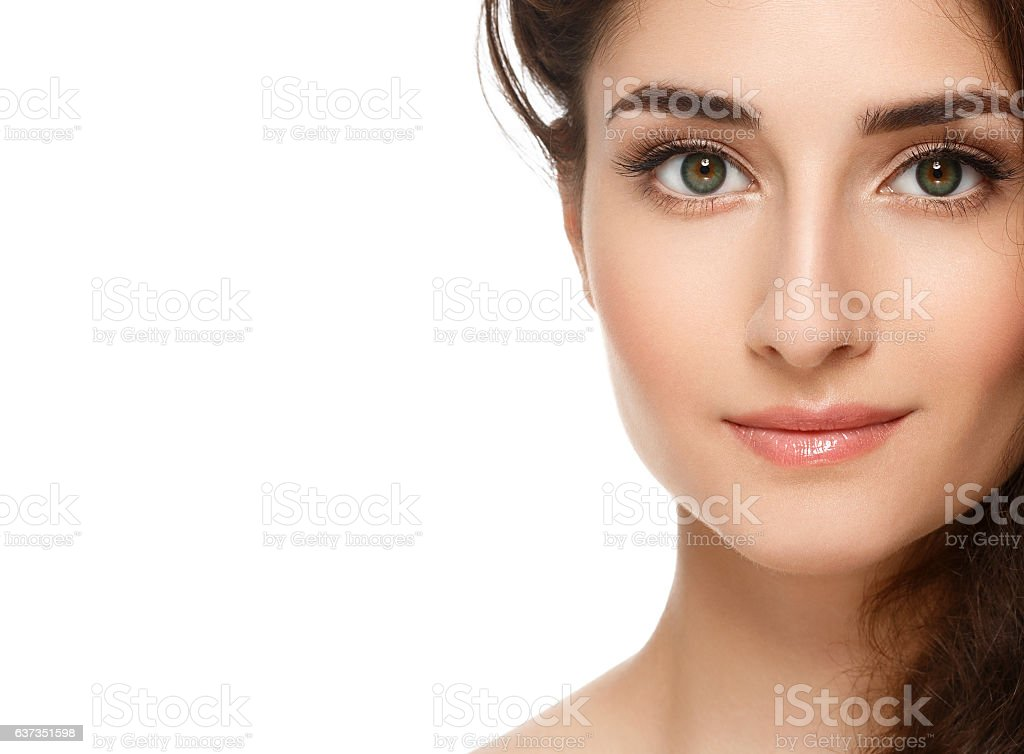Beautiful Face of Young Woman with Perfect Skin. Isolated white. stock photo