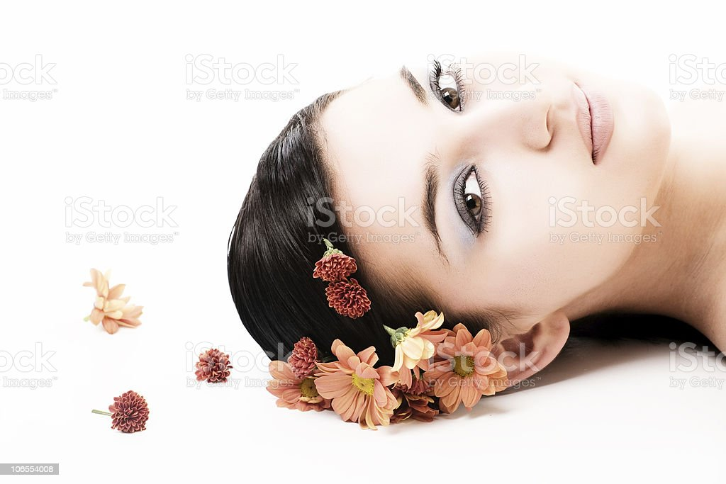 beautiful face with flowers royalty-free stock photo