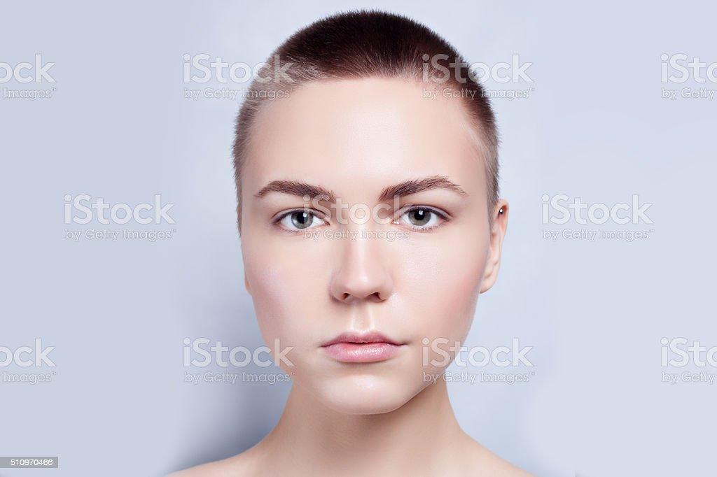 Beautiful Face Young Woman Clean Fresh Skin close up stock photo