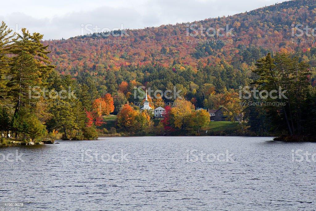 Beautiful fall colors at Long Lake, Adirondacks, New York, USA stock photo