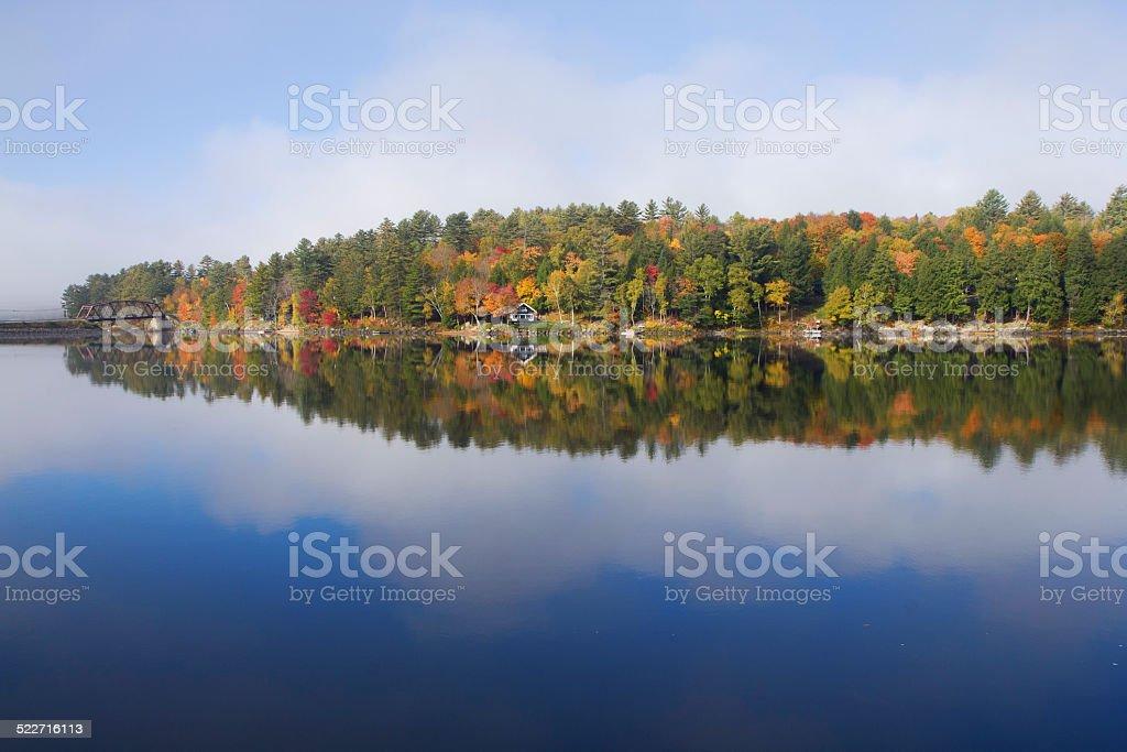 Beautiful fall colors at Long Lake, Adirondacks, USA stock photo