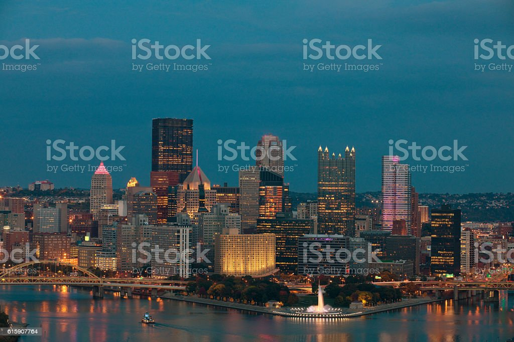 Beautiful Fall Evening In Pittsburgh Pennsylvania stock photo