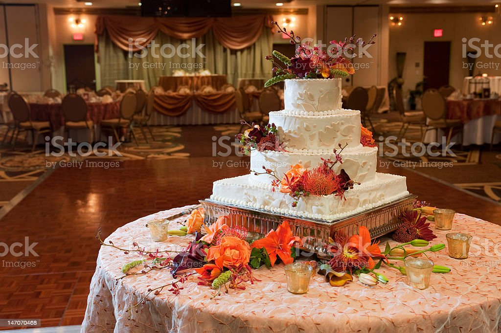 Beautiful fall themed wedding reception royalty-free stock photo