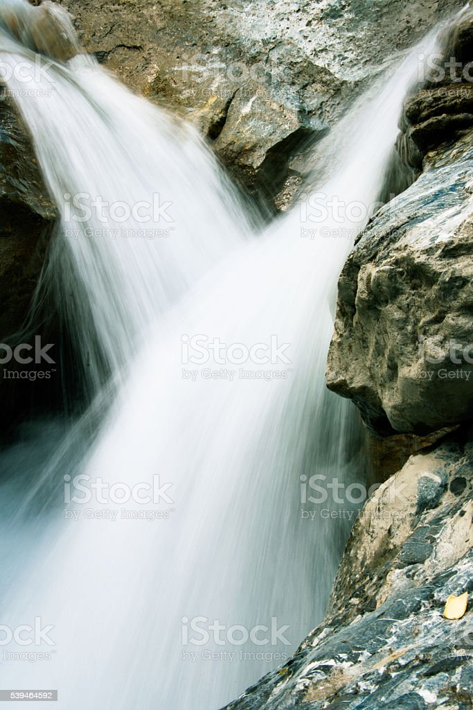beautiful falling water from the mountains stock photo