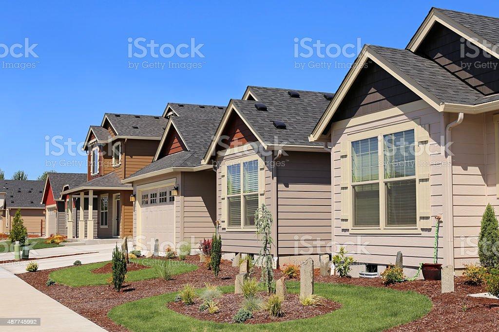 Beautiful Family Homes in Suburban Neighborhood stock photo
