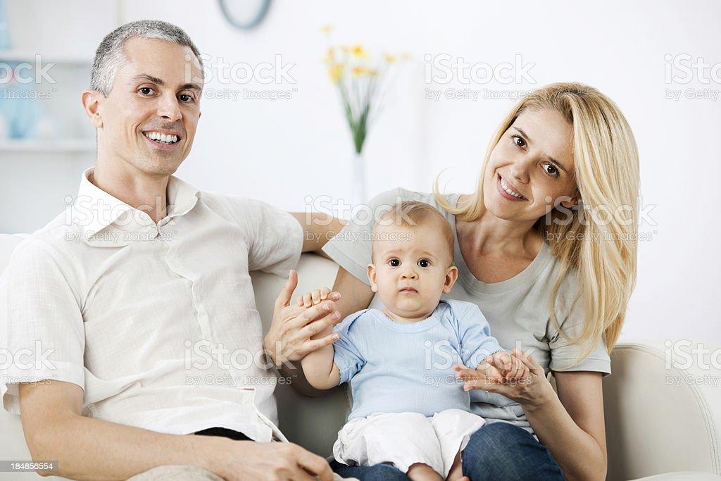 Beautiful family of three people. royalty-free stock photo