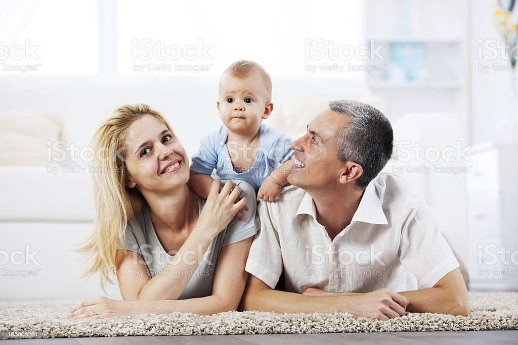 Beautiful family of three people. royalty-free stock photo