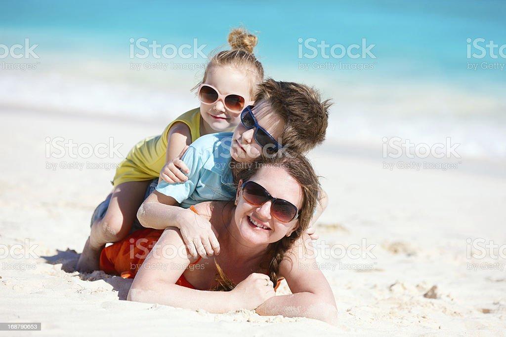 Beautiful family on a beach royalty-free stock photo
