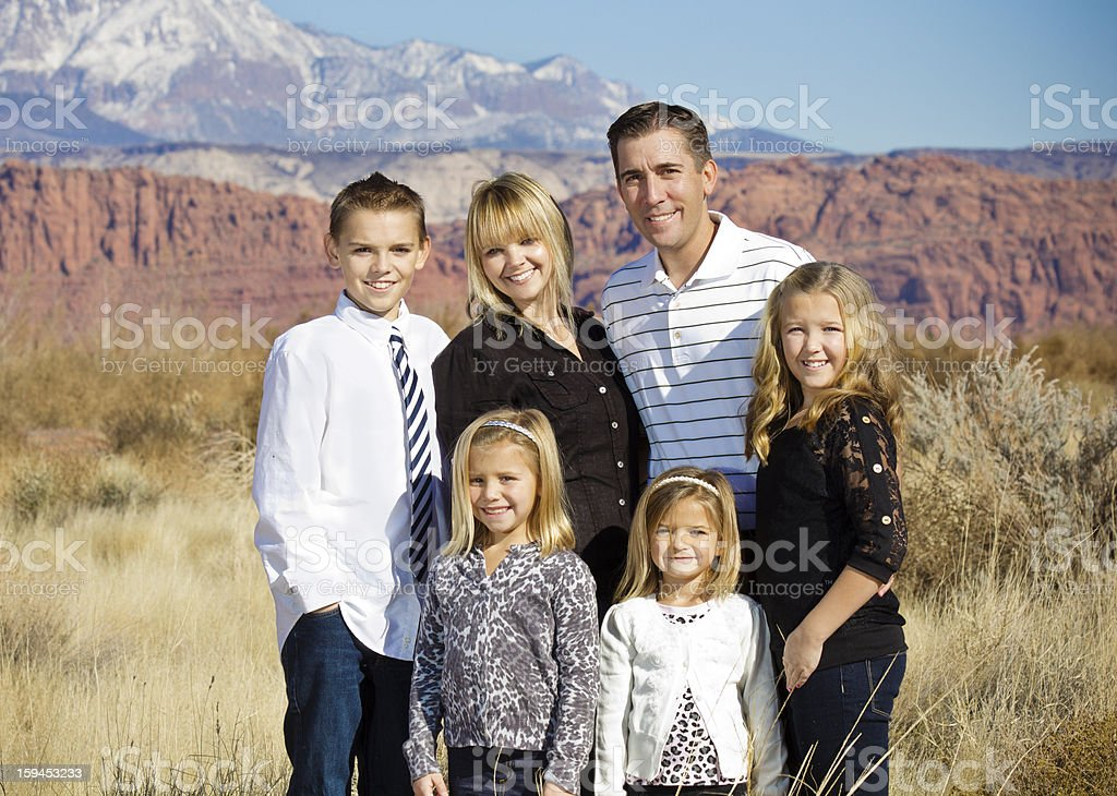 Beautiful Family Portrait Outdoors royalty-free stock photo