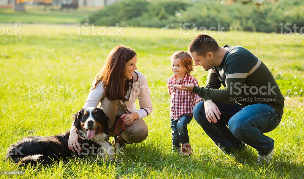 Beautiful family spending time together stock photo