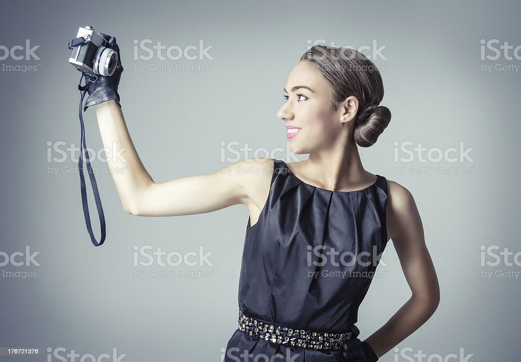 Beautiful fashion girl with classic vintage style royalty-free stock photo