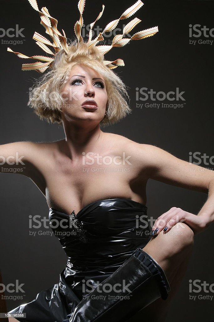Beautiful Fashion Model with Funky Hairstyle stock photo