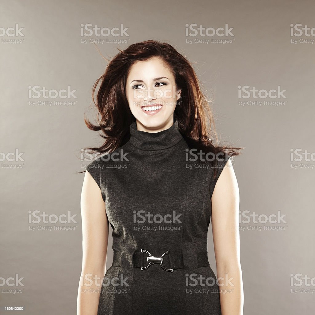 Beautiful fashion model with hair blowing stock photo