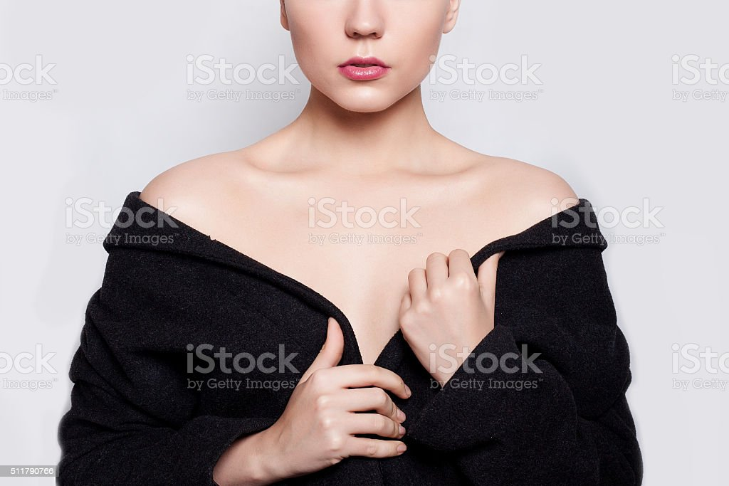 Beautiful fashion model Woman brunette short hair and red eyelids stock photo
