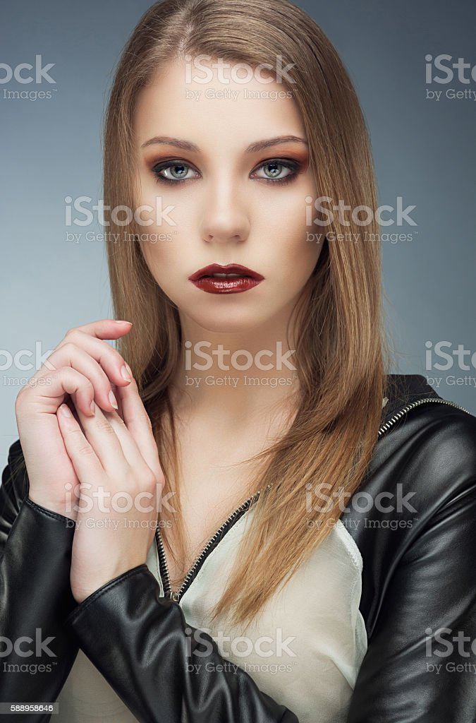Beautiful Fashion Models portrait with fancy makeup stock photo