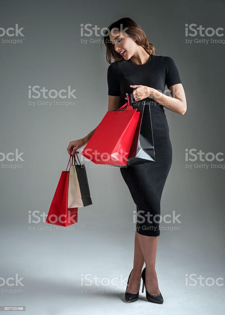 Beautiful fashion woman shopping stock photo