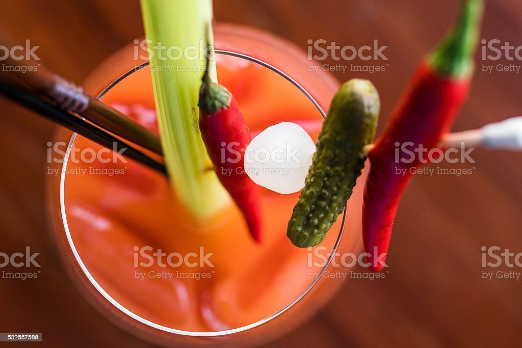 beautiful feed bloody mary at the rooftop bar, design, luxury stock photo