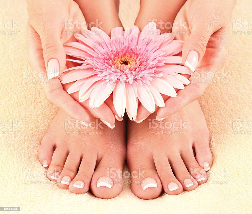 Beautiful feet and hands. stock photo