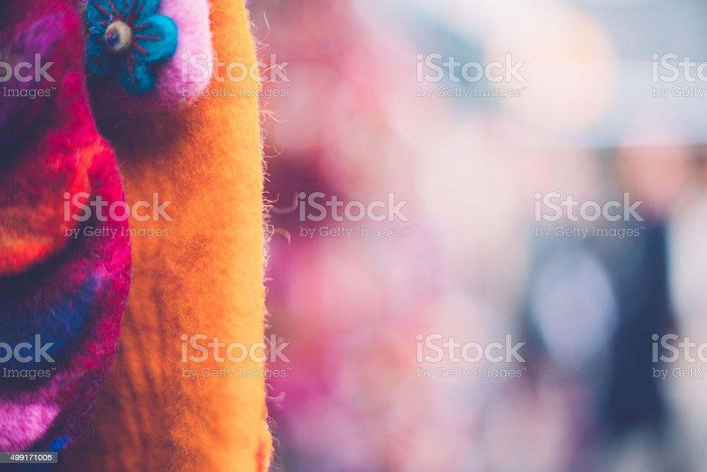 Beautiful Felting Wool Accessories, Camden Market, London, UK stock photo