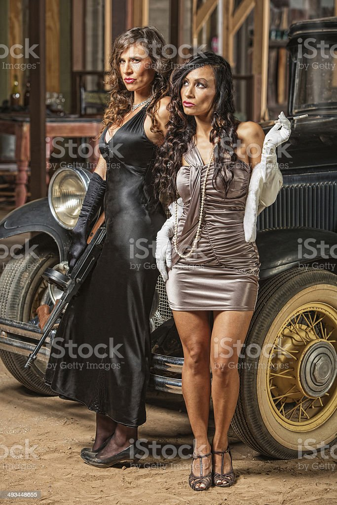 Beautiful Female 1920s Gangsters stock photo