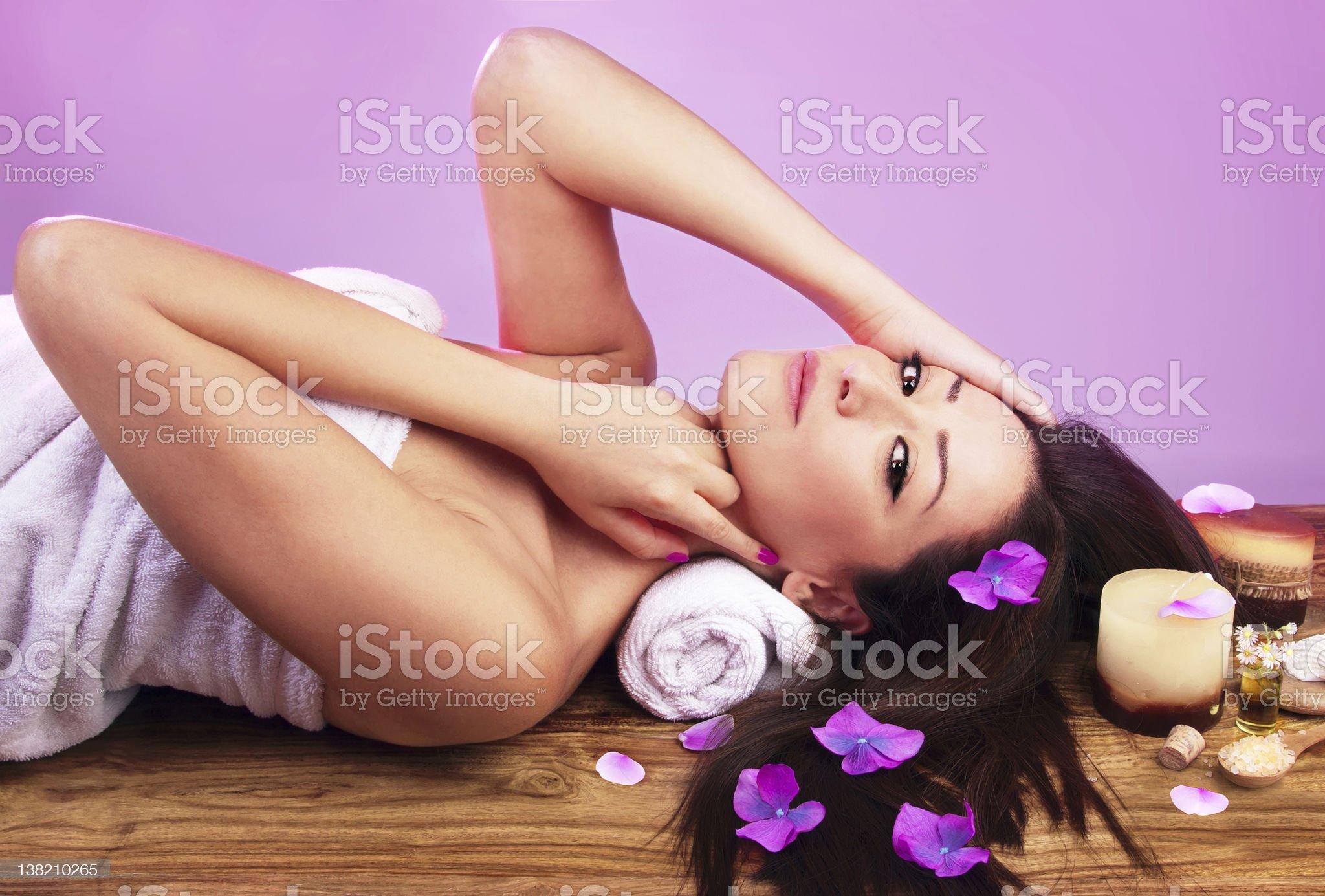 Beautiful female at spa salon royalty-free stock photo