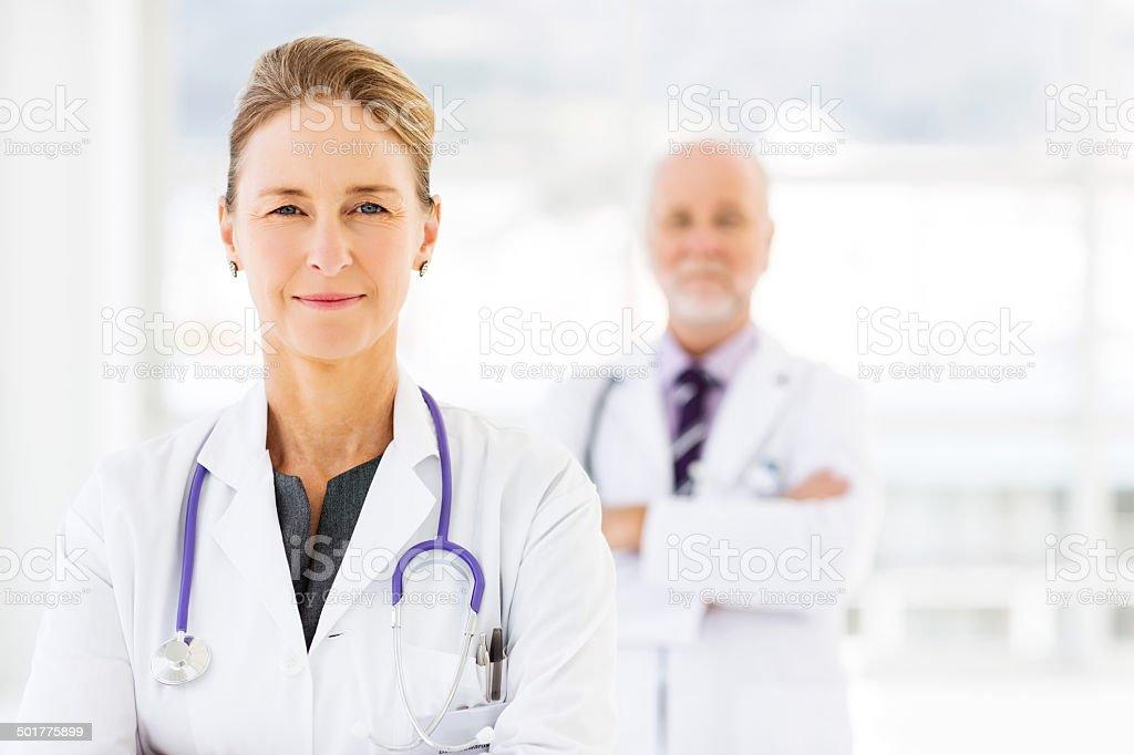 Beautiful Female Doctor In Hospital stock photo