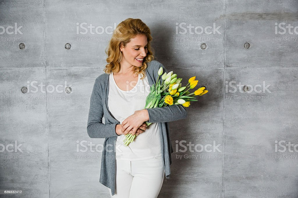 Beautiful female florist stock photo