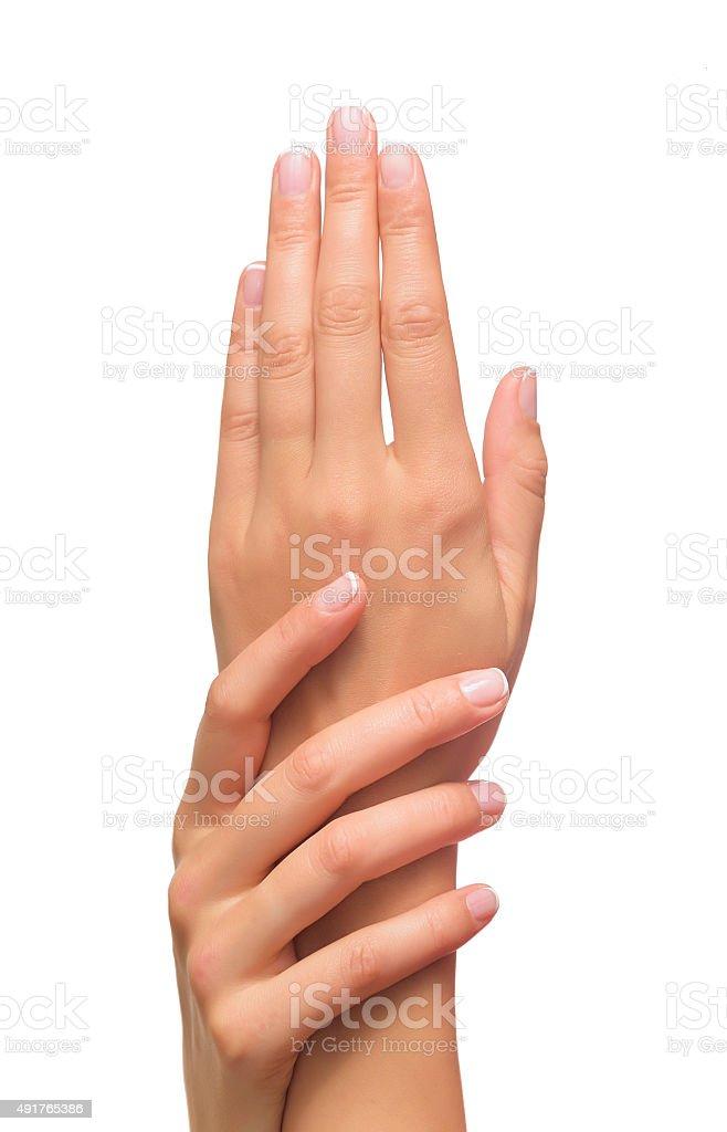 Beautiful female hands stock photo