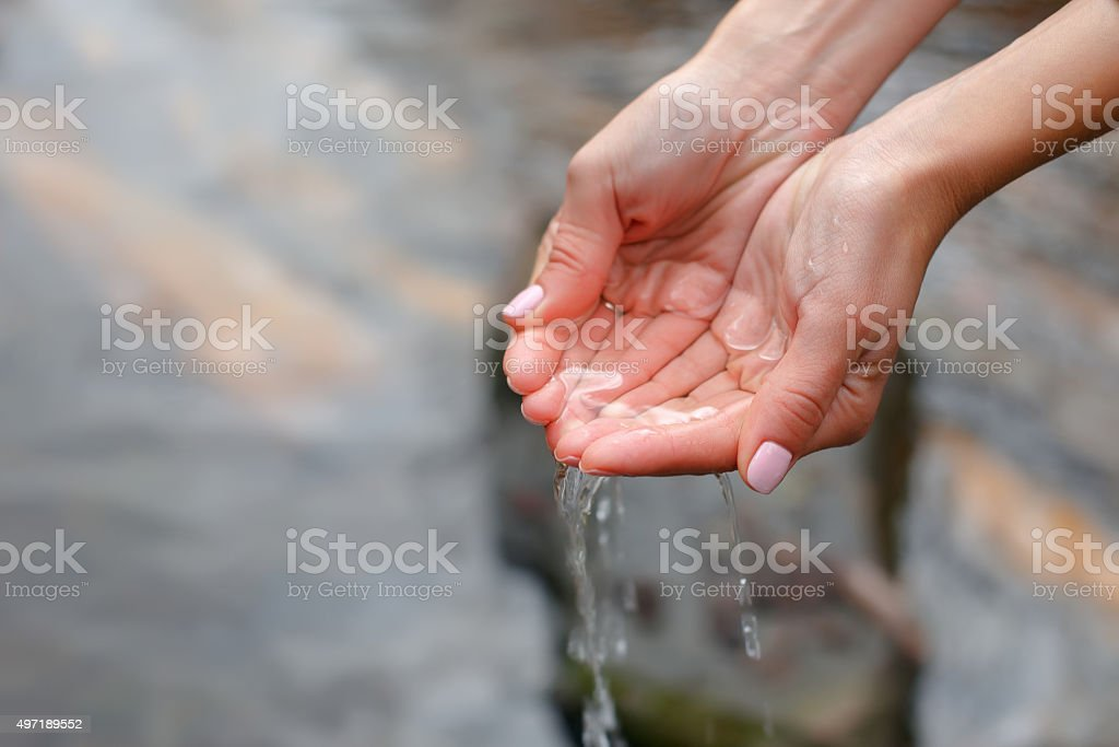 Beautiful female hands scooped water from a pure spring stock photo