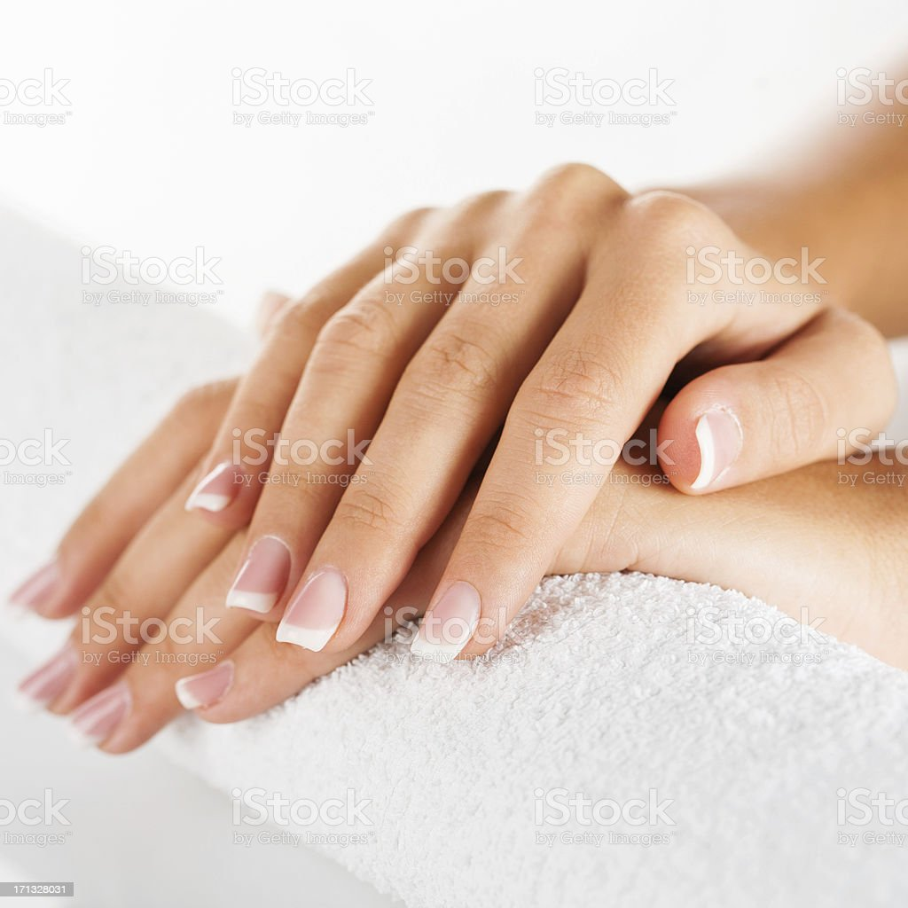 Beautiful female hands with manicure royalty-free stock photo