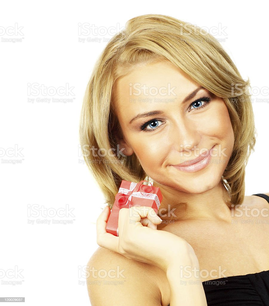 Beautiful female holding gift royalty-free stock photo