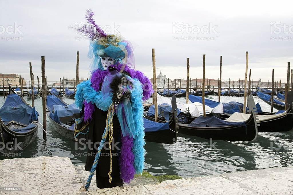 Beautiful female mask at Grand Canal in Venice (XXL) royalty-free stock photo