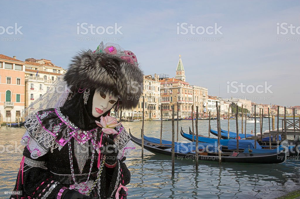 Beautiful female mask with Venice skyline at Grand Canal (XXL) royalty-free stock photo
