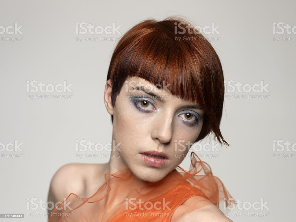 beautiful female model with retro hairstyle royalty-free stock photo