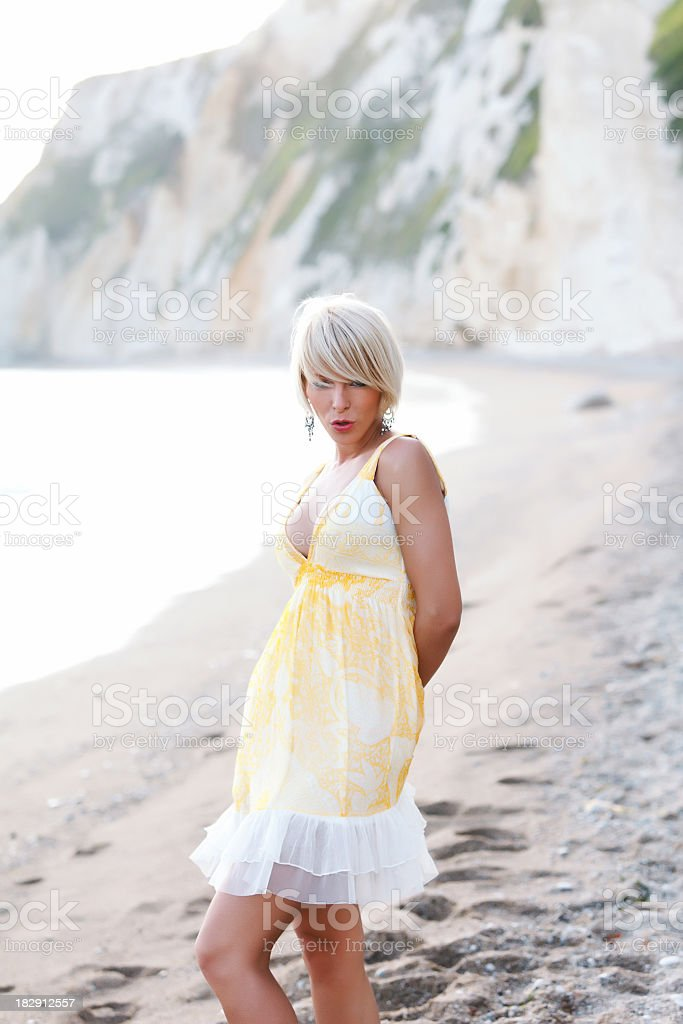Beautiful female on the beach royalty-free stock photo