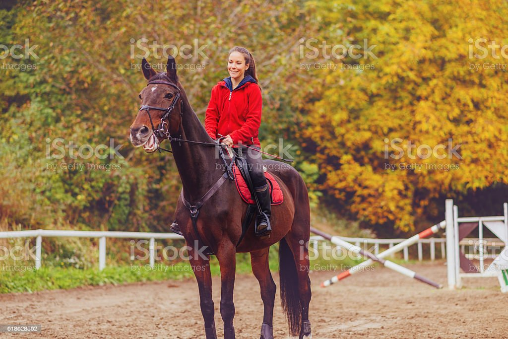 Beautiful female rider with her mare on dressage stock photo