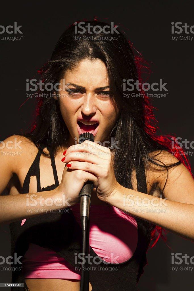 Beautiful female singer royalty-free stock photo