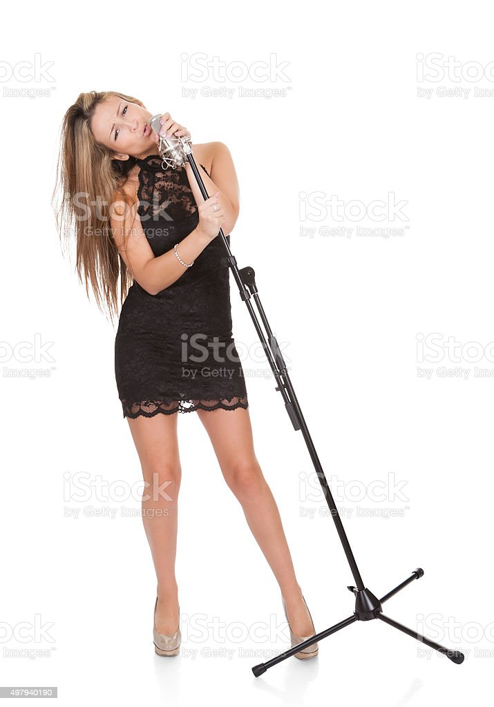 Beautiful female singer stock photo